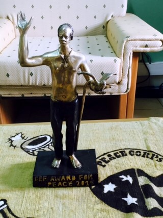 FBF Award for Peace statue, created by the artist group Tigoung Nonma in Ouagadougou