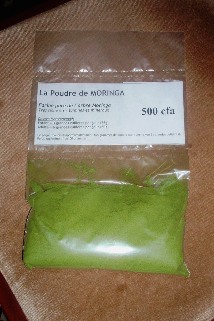 Packaged moringa powder for regional markets.