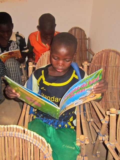 Children reading inside the new Sebba library